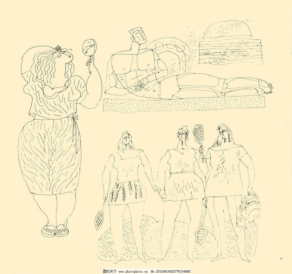 人物装饰画 线描 线条 勾勒 儿童画 源文件