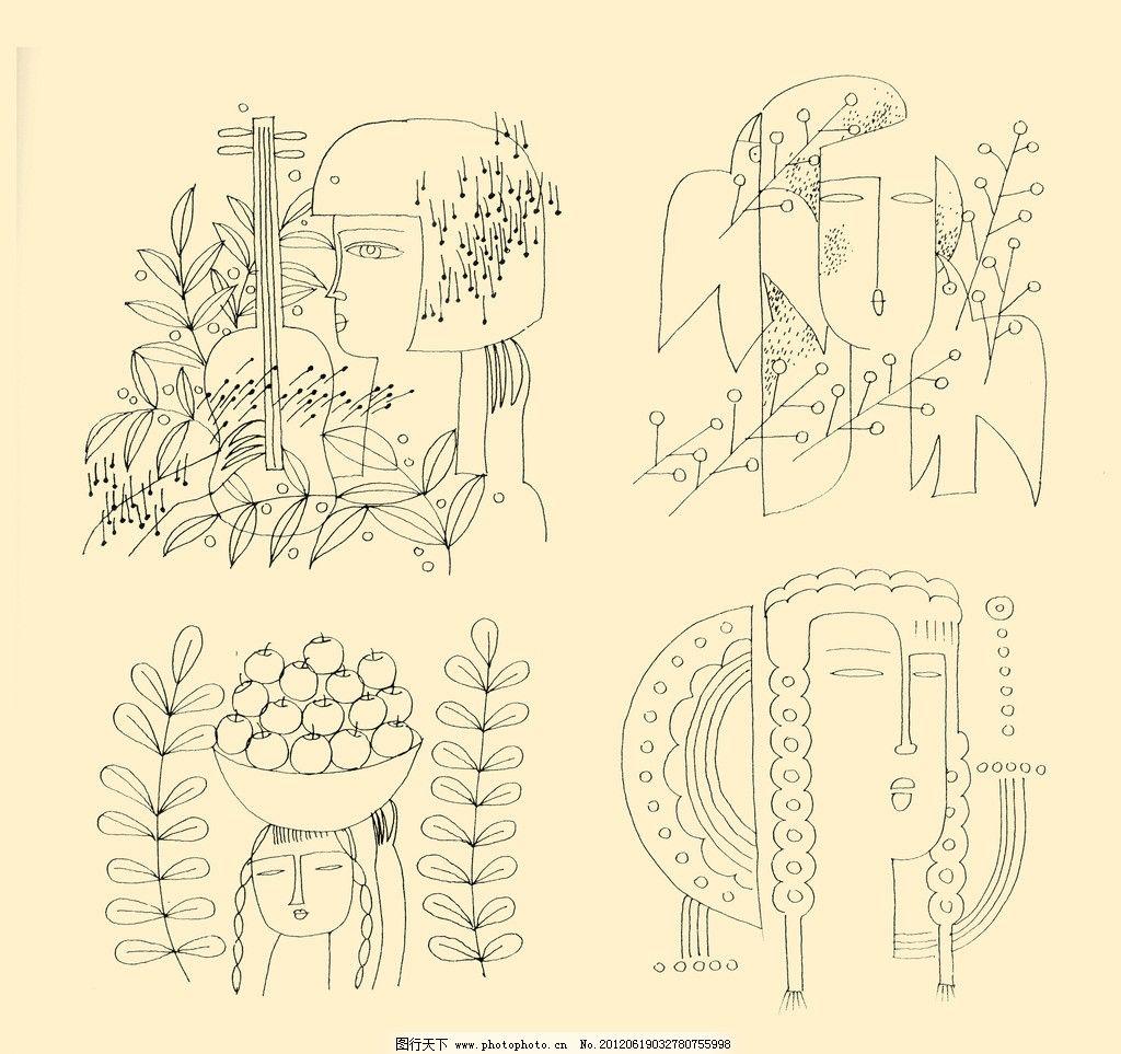 人物装饰画图片,线描 线条 勾勒 儿童画 源文件-图行