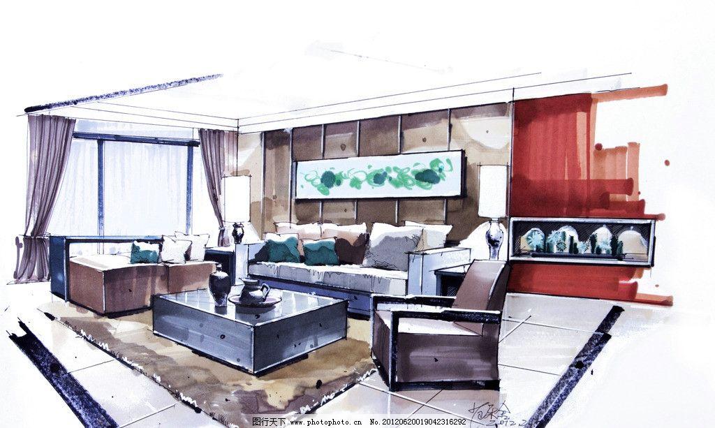 手绘客厅 室内 手绘 设计 室内手绘      手绘设计 沙发 台灯 抱枕