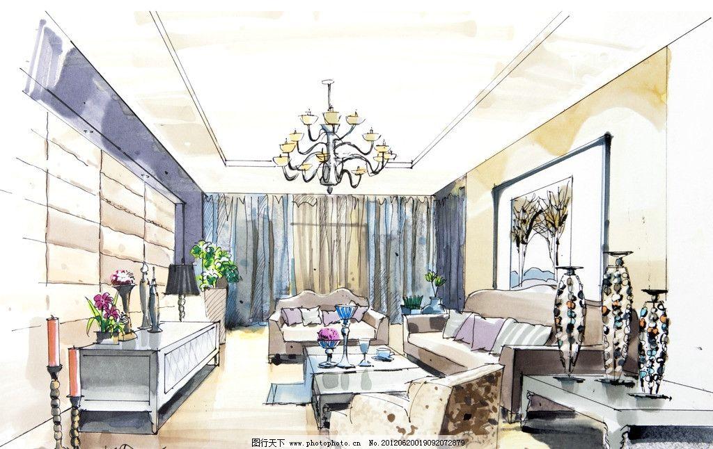 室内 手绘 设计 室内手绘      手绘设计 柜子 沙发 花瓶 绘画书法