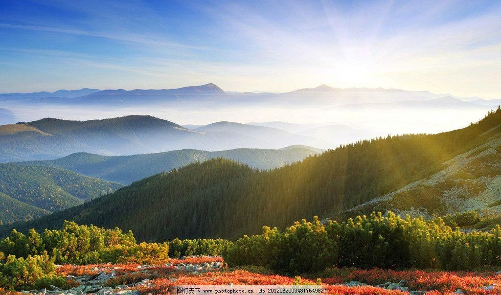 自然风景图片,日出 远山 金秋 壁纸 蓝天 白云 自