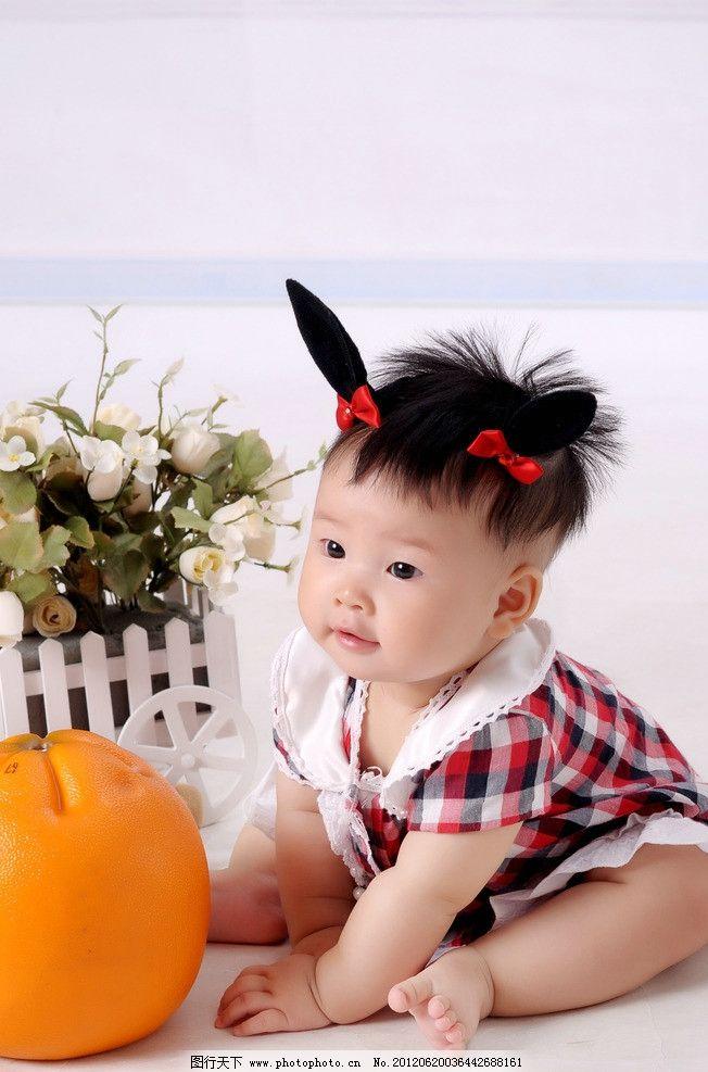 妹妹 小美女 婴儿 小孩 水果 玩耍 坐着的宝宝 宝宝与水果 胖娃娃 小