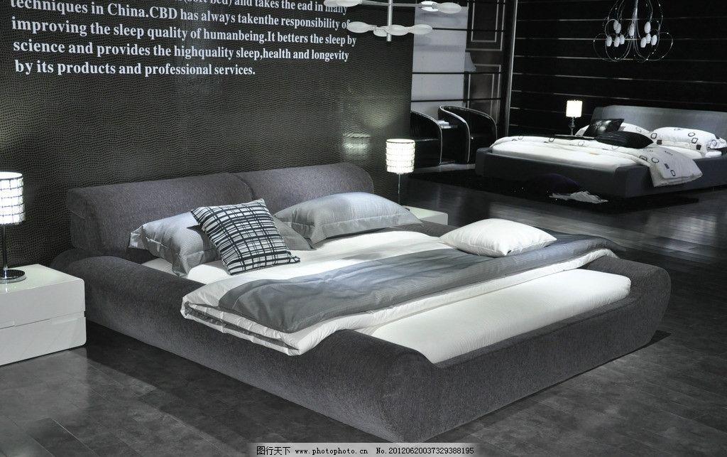 灰色床欧式样式图片