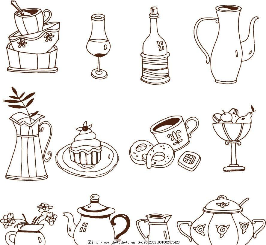 手绘餐具图片