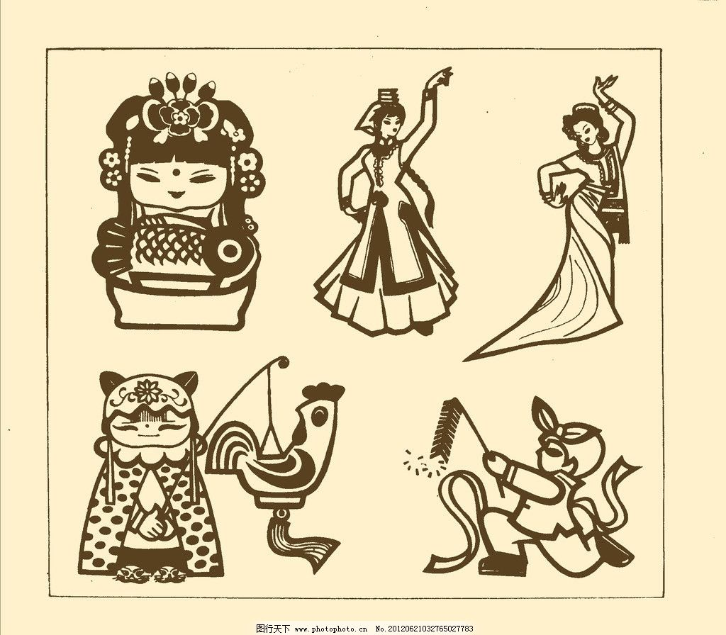 人物装饰画 图案 纹样 插话 源文件