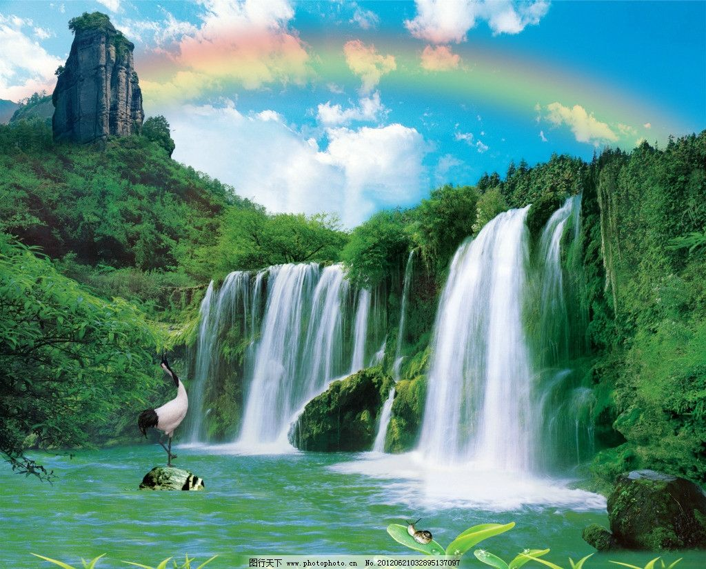 山水画 山 水 山水 风景 湖 树 草 瀑布 仙鹤 丹顶鹤 彩虹 蓝天 云