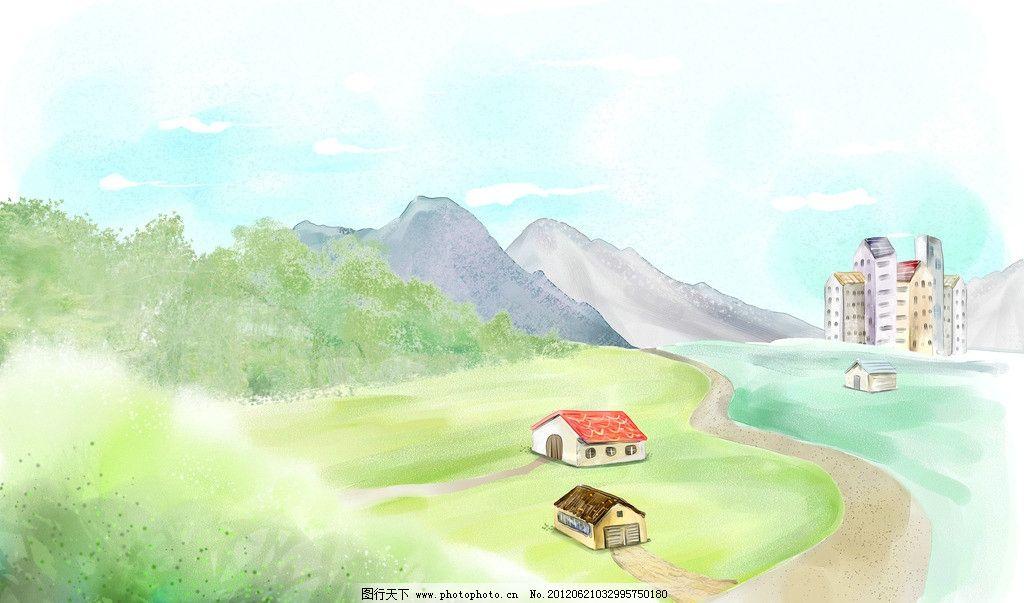 水墨画 山 房子 树木 家 小路 建筑 卡通房 天空 卡通画 卡通风景