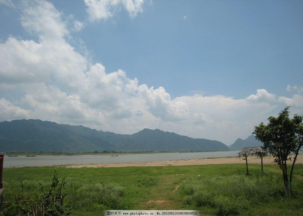 砚州岛 肇庆 蓝天 白云 高山 西江 河流 沙滩 草地 自然景观 自然风景