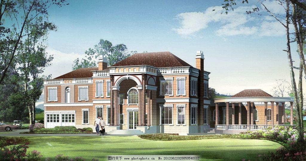 欧式洋房别墅; 立面效果图—欧