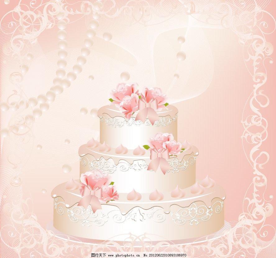 欧式花纹 婚纱婚礼蛋糕图片