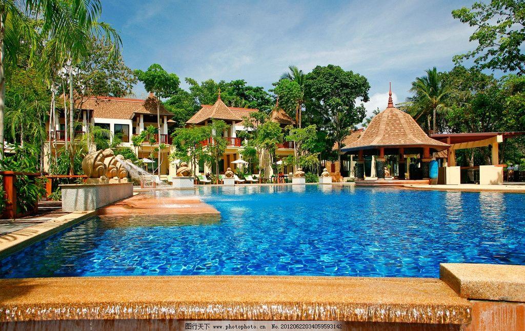 热带海边度假村旅游 热带 海边 度假村 旅游 游泳池 太阳伞 大海 躺椅