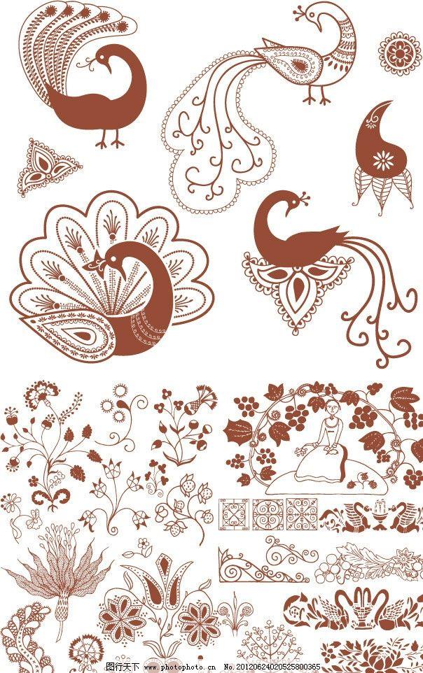 欧式花纹花朵 孔雀花纹图片