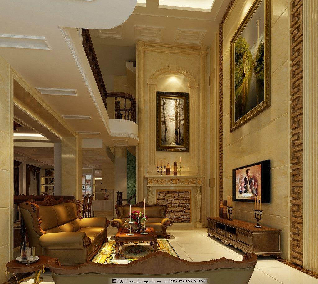 欧式别墅客厅设计 欧式 装修        别墅 电视 沙发 桌子 柜子 红酒