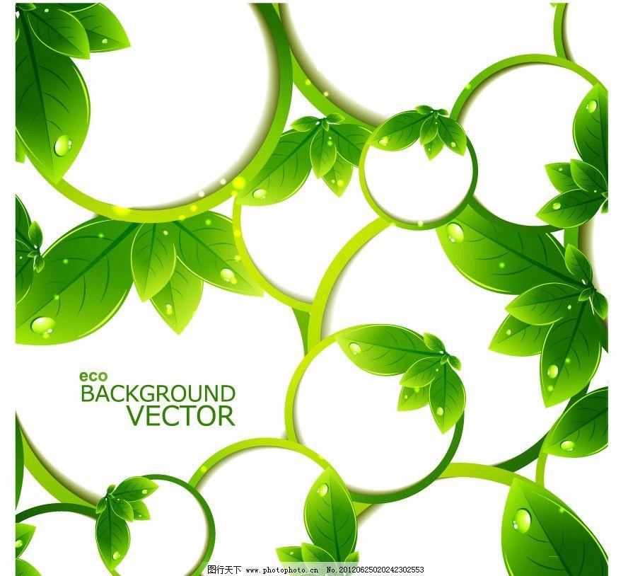 绿叶水珠水滴环保背景 绿叶 水珠 水滴 动感 圈圈 树叶 绿色 环保
