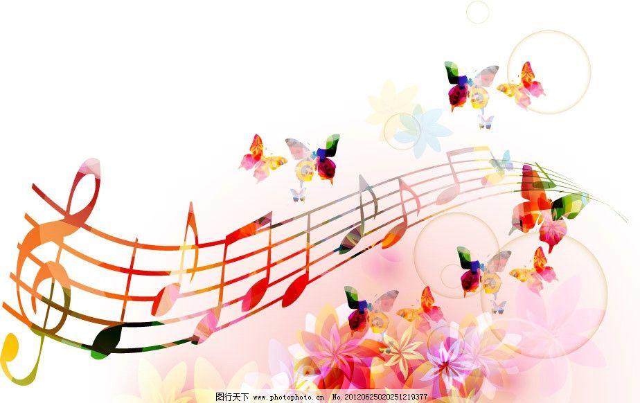 梦幻花纹花朵 蝴蝶 音符图片
