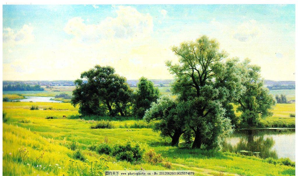 春天风景油画图片