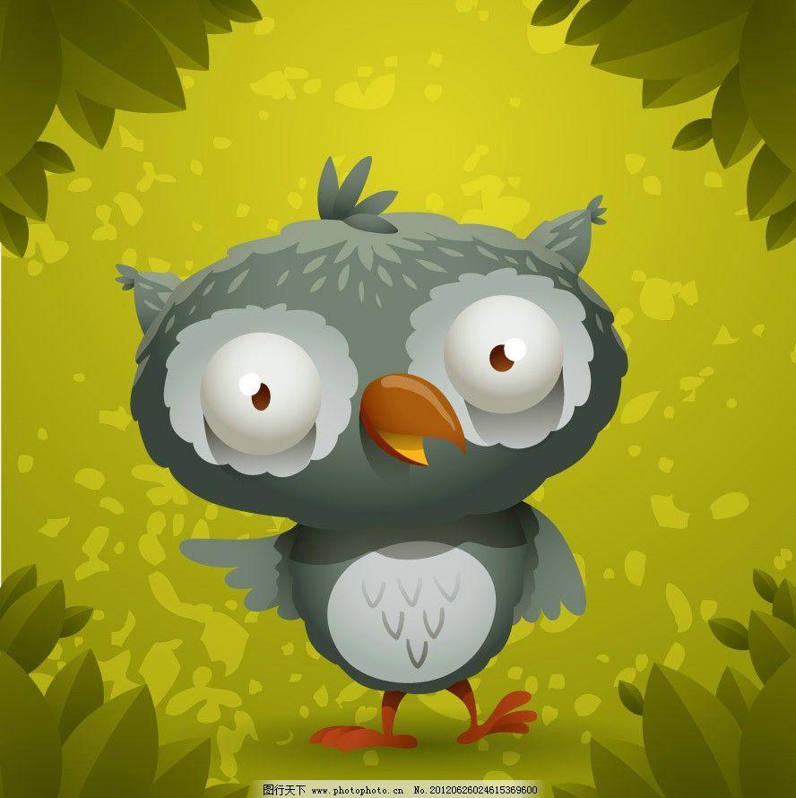 手绘可爱猫头鹰表情 滑稽 有趣 绿叶 背景 矢量 鸟类