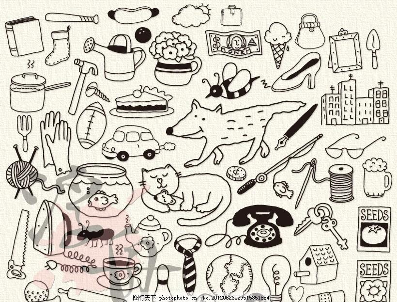 可爱白描手绘小动物 线稿 萌 黑白 轮廓画 童趣 儿童 剪贴画