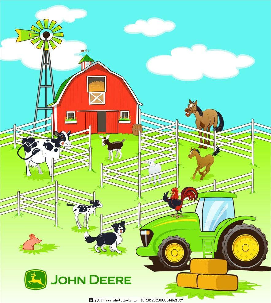 农场 动物 围栏 卡通 房子 蓝天 草地 车 矢量图 海报设计
