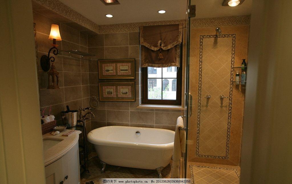 样板间 室内 欧式 风格 卫生间 手盆 浴缸 实景 照片 室内摄影