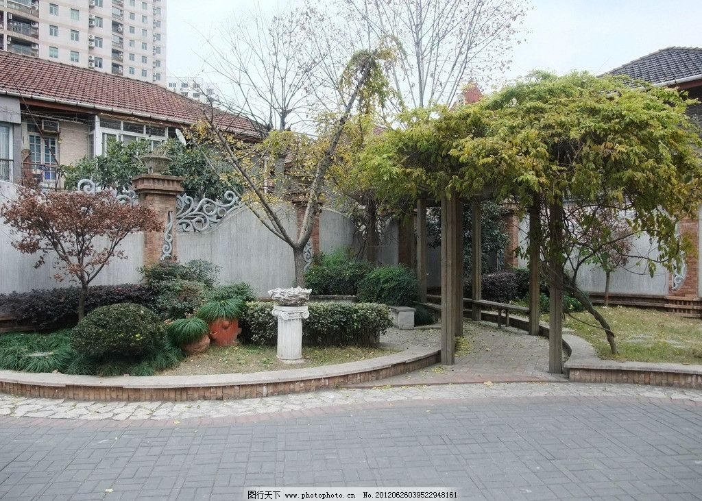安西路 道路 景观 绿化 绿地 游园 树木 景树 景墙 住宅区 休息 庭院