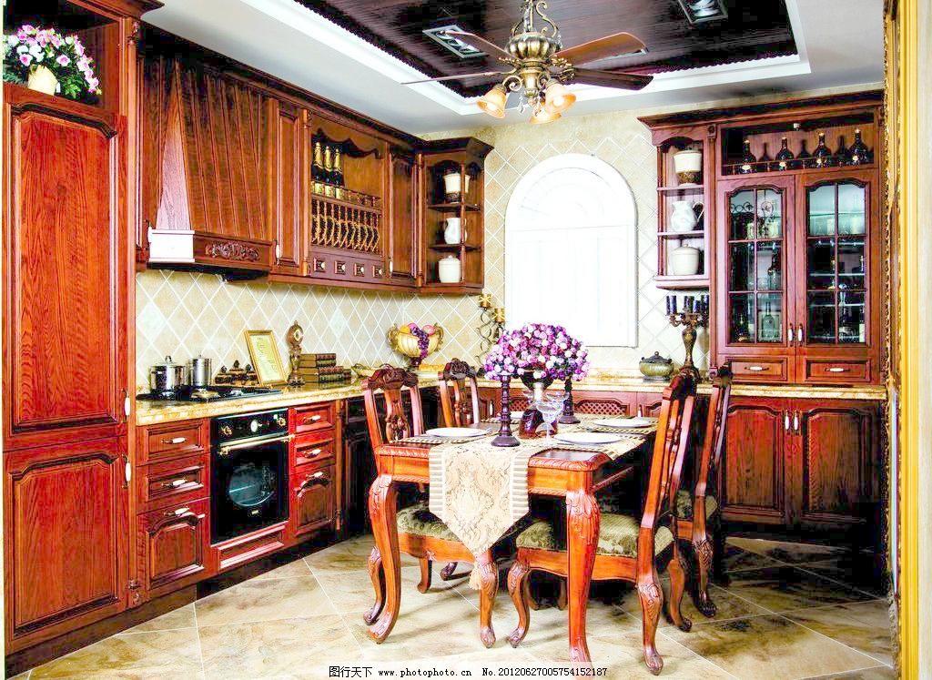 厨房 杯子 古典 古典欧式 柜子 红酒 红木 家居生活 厨房图片素材下载