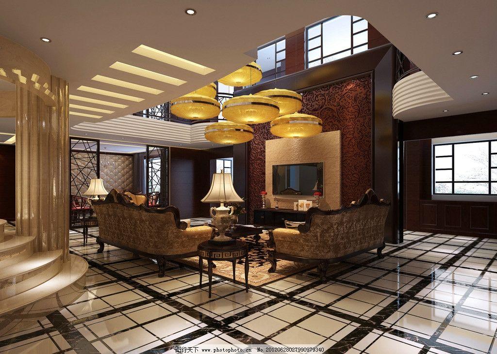 别墅客厅 挑空别墅      别墅效果图 装修 室内设计 电视 沙发 台灯