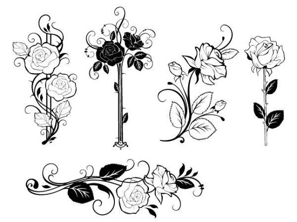 手绘 叶子 花朵 玫瑰 花瓣 花蕊 叶子 手绘 矢量素材 矢量图 花纹花边