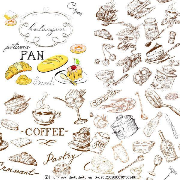 瓶子 线描 手绘 线稿 食物 面包 蛋糕圈 勺子 饼干 甜点 奶酪 三明治