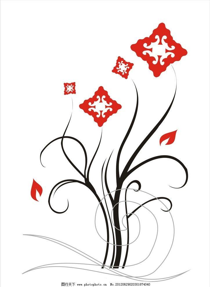 装饰画 红黑色好看花纹 花纹花边 底纹边框 矢量 cdr