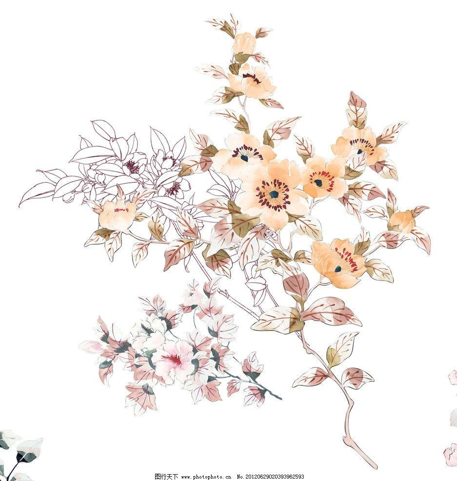 梅花 手绘 小花 勾线花