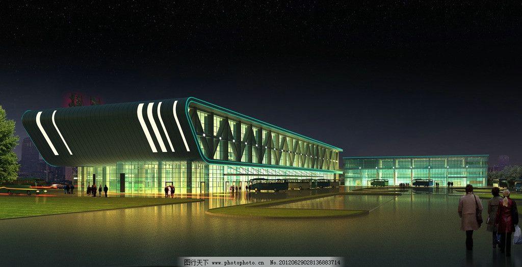 侧面夜景 车站 车站效果图 镜面 玻璃墙面 亭台 阁楼 夜晚灯光效果 建