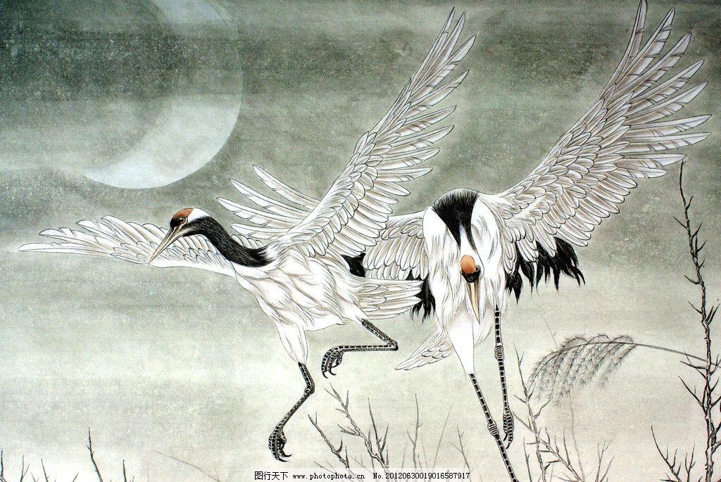 鹤舞月夜 美术 中国画 水墨画 动物 白鹤 丹顶鹤 鹤姿 弯月 野树 国画
