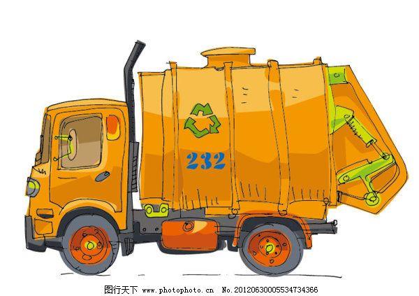 回收 货车 卡车 卡通 可爱 汽车 矢量素材 手绘 玩具 手绘 卡通 汽车