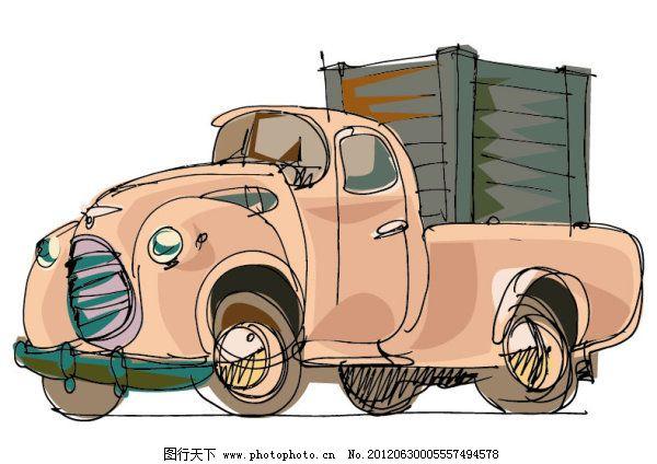 手绘卡通汽车卡车免费下载 货车 卡车 卡通 可爱 汽车 矢量素材 手绘