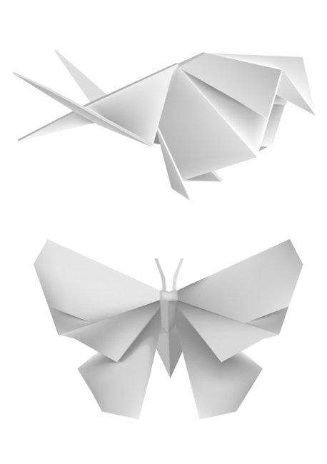 蝴蝶折纸 蝴蝶折纸免费下载 白纸 动物 模型 矢量素材 玩具 玩具